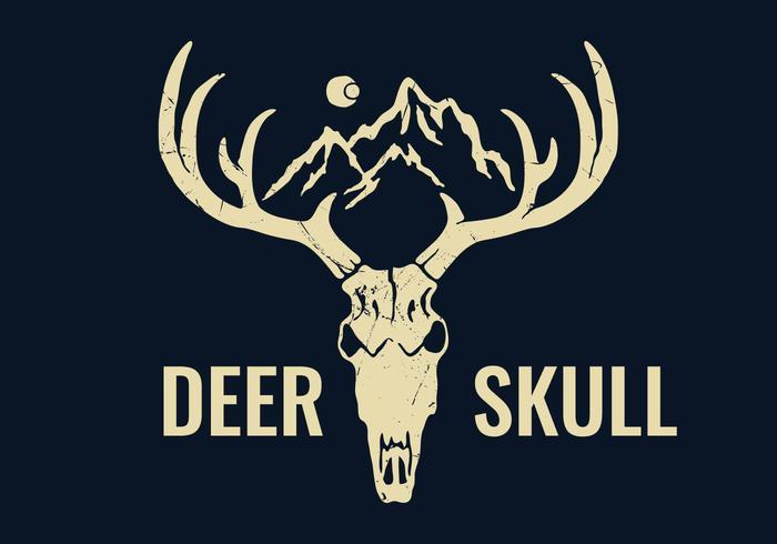 Mão desenhada cervo crânio