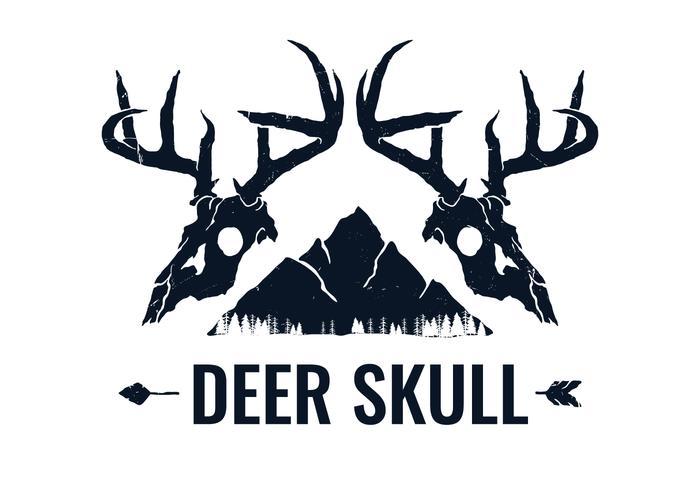 Handgezeichnete Twin Deer Skull vektor