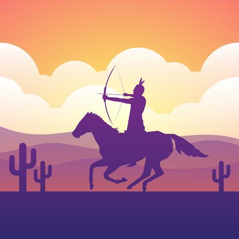 Nationaal Indiaan Berijdend Paard met Spear in Hand Vlakke Illustratie