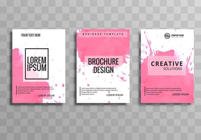 Abstracte roze waterverf bedrijfsbrochurereeks