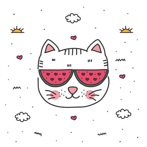 doodle kat vector