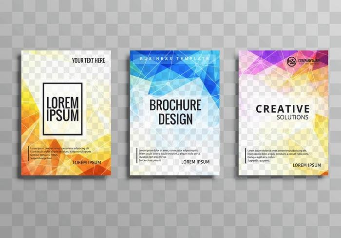 Abstract colorful geometric business brochure set