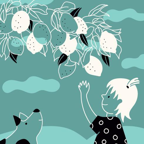 Ilustração Vintage fofa de uma menina escolhendo alguns limões