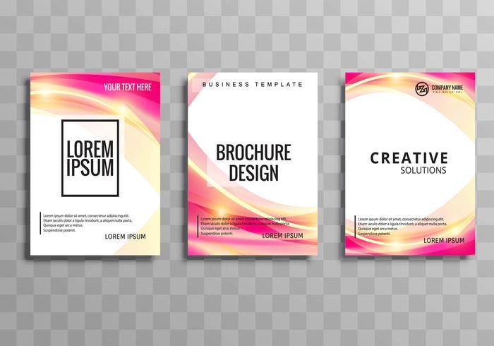 Conjunto de modelo de onda colorida abstrata brochura de negócios