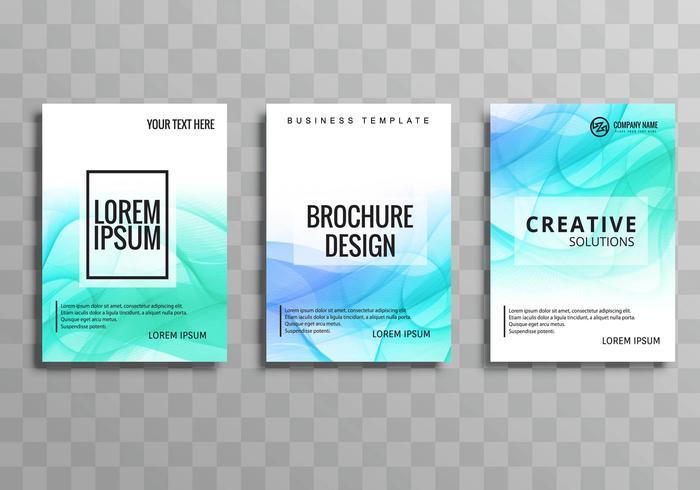 Conjunto de modelo moderno azul ondulado brochura de negócios