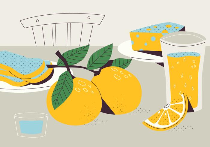 Limonada fresca de cítricos en la ilustración plana de vector de tabla