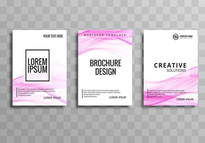 Abstrato onda rosa negócios brochura modelo conjunto