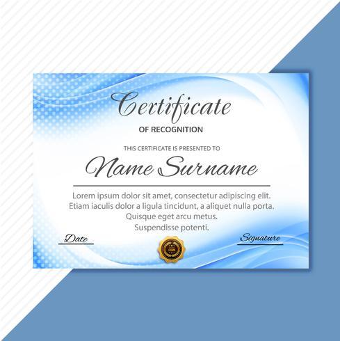 Certificado de modelo bonito com design de onda