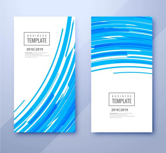 Abstract blue wave business template set banners vector design