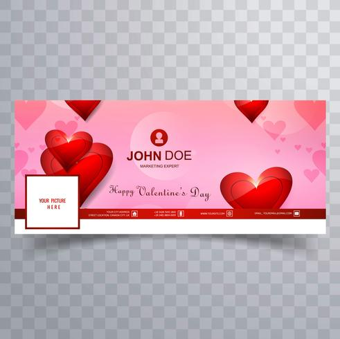 Abstract valentine's day facebook cover design illustration vector