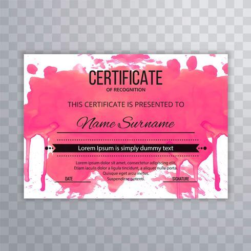 Modelo de certificado Premium prêmios diploma aquarela colorida