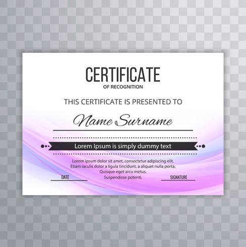 Certificado Plantilla Premium premios diploma colorido ola ilust
