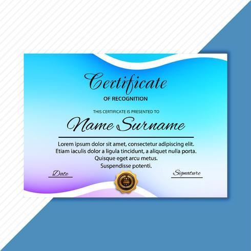 Fundo de modelo colorido lindo certificado diploma