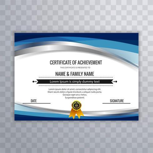Modelo de design moderno certificado com onda
