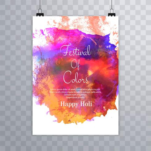 Linda feliz holi festival folheto colorido aquarelas de volta