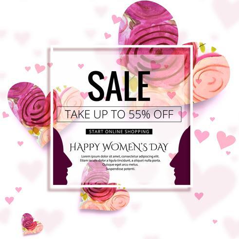 Feliz dia da mulher celebração venda fundo ilustração
