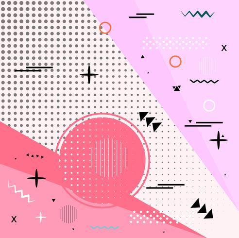 Trendy geometrische elementen Memphis kaarten retro stijl textuur, pat