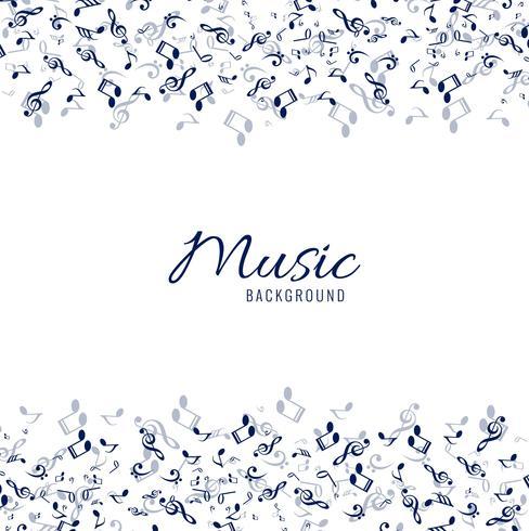 Fundo musical branco com notas azuis
