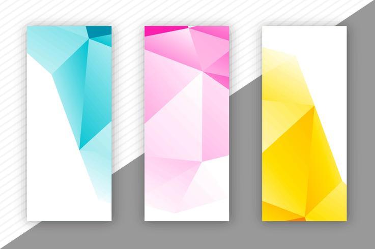 Abstracte veelhoekbanners geplaatst malplaatjeontwerp vector