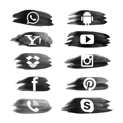 Moderne Aquarellsocial media-Ikonen stellten Sammlungsdesign ein