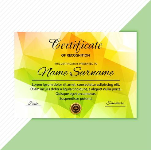Fond de polygone coloré certificat abstrait diplôme