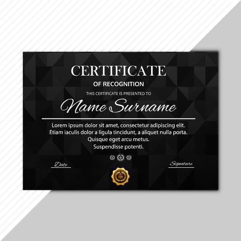 Abstract dark certificate template vector illustration