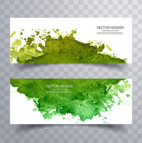 Bela aquarela colorida verde banners de cenografia