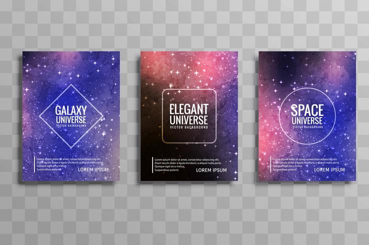 Abstracte kleurrijke galaxy stylie zakelijke brochure set