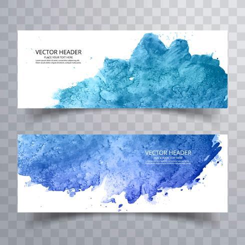 Mooie blauwe waterverfbanners geplaatst ontwerp