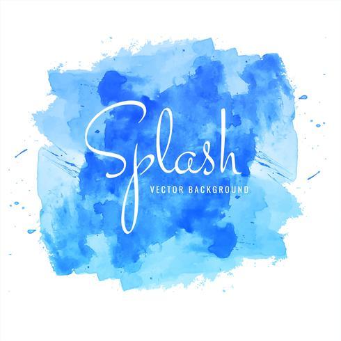 Vacker handfärg akvarell blå stänk på vit design