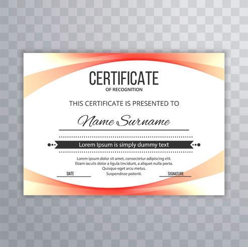 Wellen-Designillustration der modernen Zertifikatschablone bunte