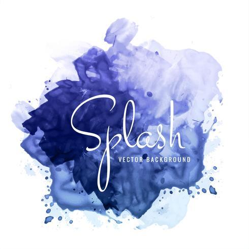 Mooie de waterverf blauwe plons van de handverf op witte achtergrond