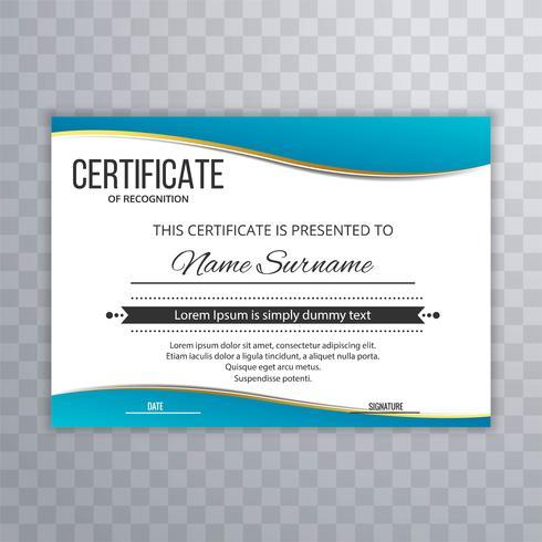 Certificado modelo Premium prêmios diploma azul onda design
