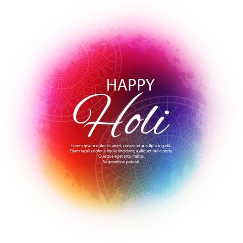 Feliz Holi Indian primavera festival de cores saudação vector volta