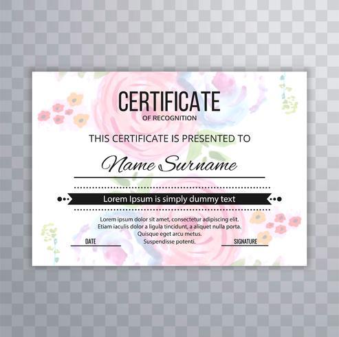 Certificaat Premium sjabloon awards diploma kleurrijke bloemen illu