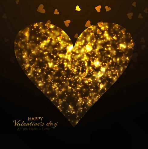 Creatieve Valentijnsdag glanzende harten kaart achtergrond