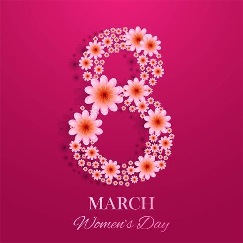 8 mars, carte décorative de la journée internationale de la femme