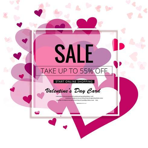 Illustrazione variopinta del fondo di vendita dei cuori di giorno di biglietti di S. Valentino