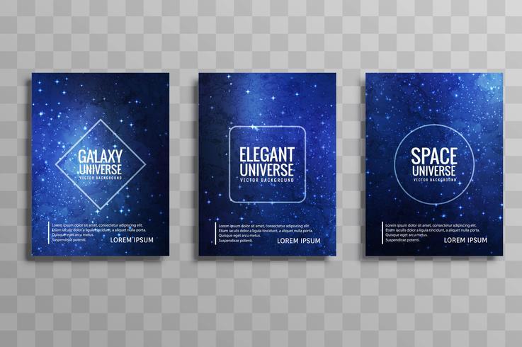moderno galáxia universo vetor brochura cartões set vector