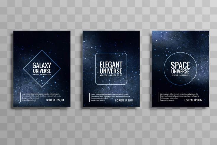 Geschäftsbroschürensatz der schönen stilvollen Galaxie blauen