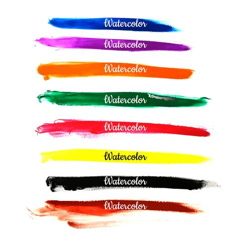 Abstract watercolor colorful strokes set design