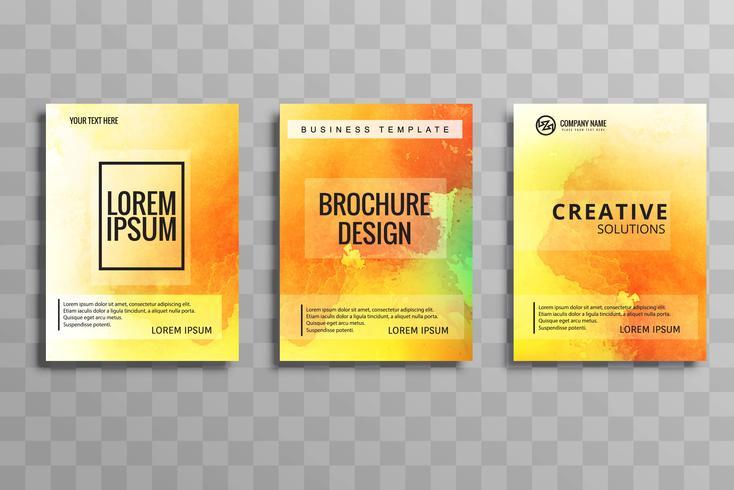 Beautiful watercolor business brochure colorful set