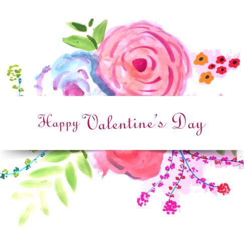 Ontwerp van de de liefdekaart van de gelukkige Valentijnsdag het kleurrijke bloemen
