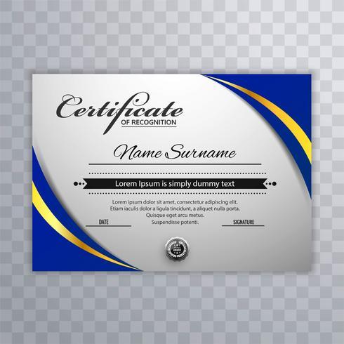 Certificat modèle décerné diplôme avec fond vague