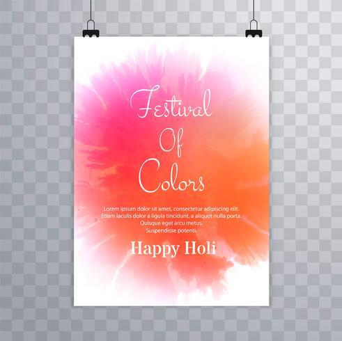 Happy holi festival vecteur de conception de brochure holi