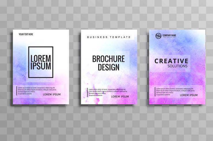 Conjunto de folleto de negocios coloridos acuarela abstracta vector