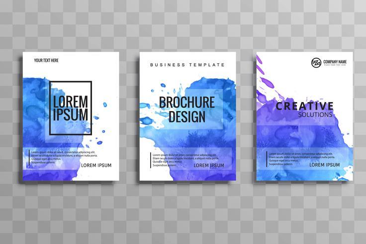 Modern colorful watercolor business brochure set