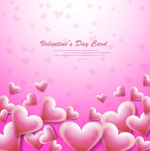 Beautiful Card Valentine S Day Pink Background With Hearts Illus