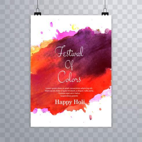 Gelukkige holi festival.holi brochure plons kleurrijke aquarellen ba