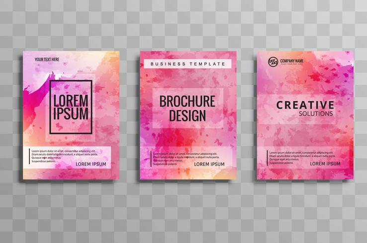 Abstract watercolor business brochure set